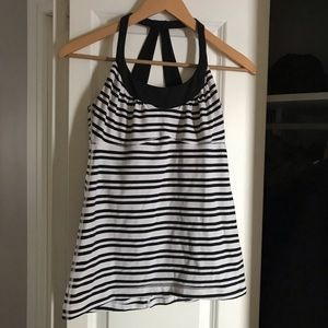 Lululemon White and Black Striped Tank
